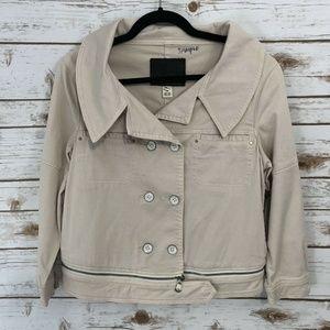 *Quicksilver Beige Khaki Cropped Jacket Sz M